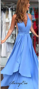 Backless Halter A-line Prom Dresses, Cheap Popular Prom Dresses