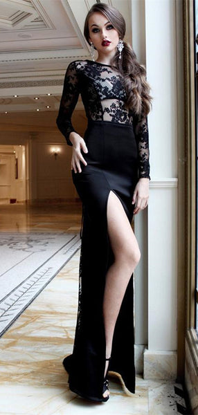 Sexy Black Round Neck Lace Party Dress Long Prom Dress with Long Sleeves Split Side
