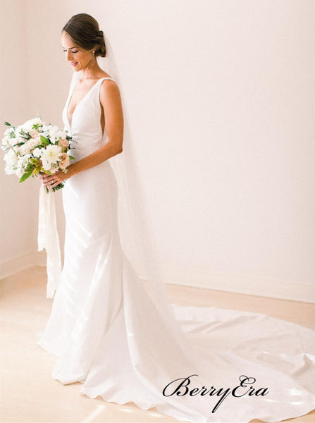 V-neck Simple Design Wedding Dresses, Popular Cheap Wedding Dresses