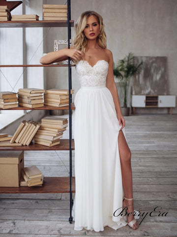 Strapless Lace Top A-line Chiffon Side Slit Simple Elegant Wedding Dresses