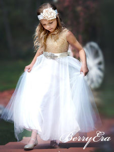 Cute Sequin Top Tulle Skirt Flower Girl Dresses