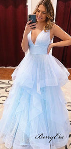 Elegant V-neck A-line Prom Dresses Long, Unique Fluffy 2020 Newest Prom Dresses