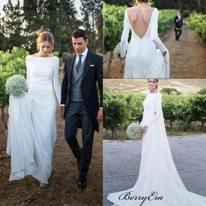2019 Newest Simple Design Jersey Wedding Dresses, Long Sleeves Wedding Dresses