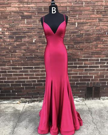 Simple Long Mermaid Satin Prom Dresses, Prom Dresses, Popular Prom Dresses