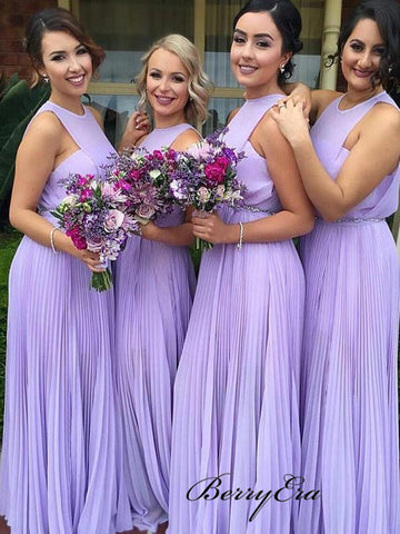 Light Purple A-line Bridesmaid Dresses, Chiffon Bridesmaid Dresses