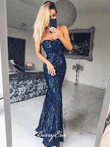 Strapless Sequins Prom Dresses, Unique Mermaid Long Prom Dresses