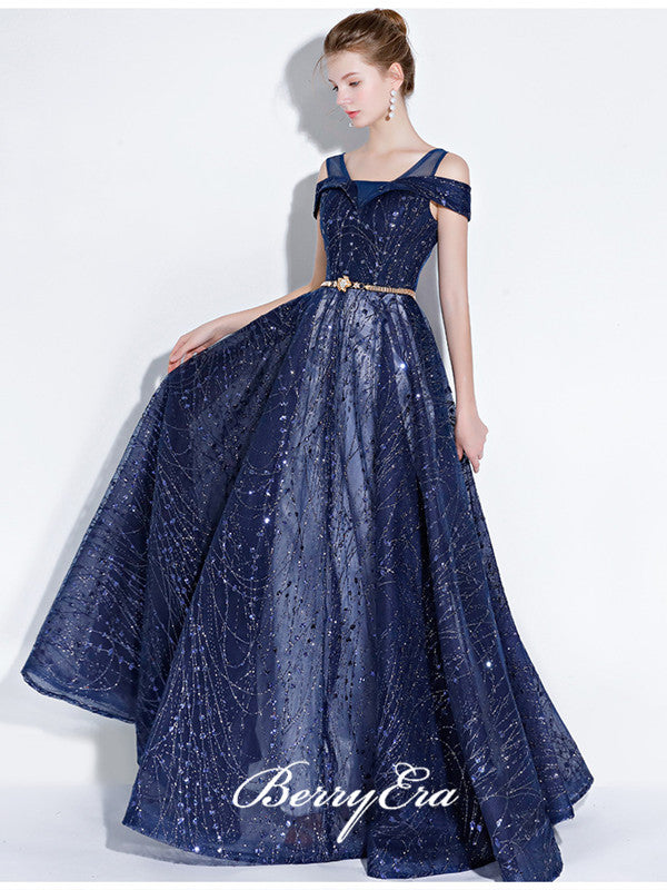 A Line Design Tulle Long Prom Dresses, Party Prom Dresses with Beads, Popular Prom Dresses