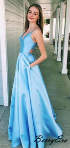 Sky Blue Satin A-line Prom Dresses For Evening Party, Beauty Prom Dresses