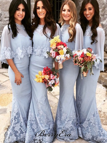 Elegant Lace Mermaid Bridesmaid Dresses, Fancy Wedding Guest Dresses