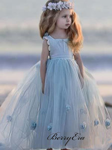 Blue Tulle A-line Little Girl Dresses, Appliques Flower Girl Dresses
