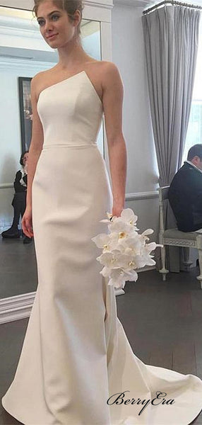 Strapless Unique Wedding Dresses, Fancy Mermaid Popular Bridal Gowns, Wedding Dresses