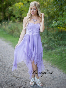 Strapless Lace Bridesmaid Dresses, Unique Purple Wedding Guest Dresses