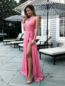 High Slit Sexy Prom Dresses, Unique Prom Dresses, Popular Prom Dresses 2019