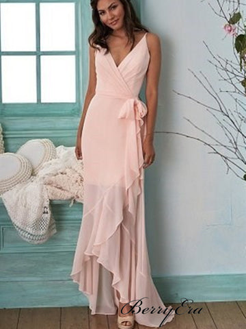 Spaghetti Straps Unique Bridesmaid Dresses, Pink Chiffon Slit Bridesmaid Dresses