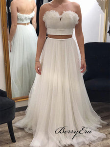 Two Pieces Wedding Dresses, Cheap Wedding Dresses, Strapless Sweetheart Wedding Dresses