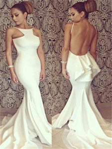 Long White Elegant Halter Backless Mermaid Prom Dresses, Sexy Prom Dresses