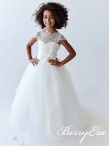 Cap Sleeves Lace Tulle Flower Girl Dresses, Ivory Flower Girl Dresses