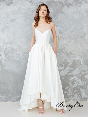 Spaghetti Long A-line Hi-low Satin Simple Wedding Dresses