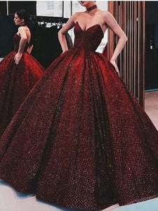 Sweetheart Long Ball Gown Red Sequin Prom Dresses, Unique Prom Dresses