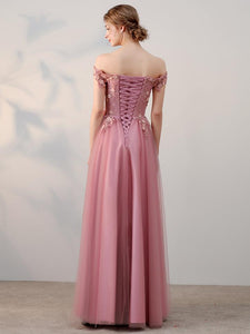 Off Shoulder Long A-line Pink Lace Tulle Prom Dresses