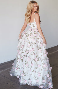 Spaghetti Long A-line Floral Unique Prom Dresses
