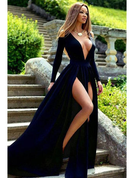 Deep V-neck Long Sleeves Side Slit Sexy Prom Dresses
