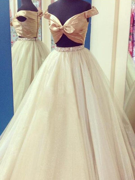 2 Pieces Cute Satin Top Tulle Beaded Long Prom Dresses