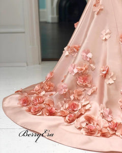 Gorgeous Baby Pink Handmade Flowers Prom Dresses Cheap Prom Dresses