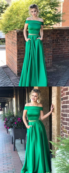 2 Pieces Long A-line Off Shoulder Satin Beaded Prom Dresses