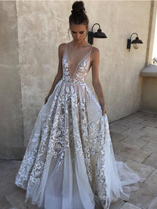 Sexy Deep V-neck Lace Tulle Long Prom Dresses