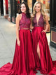 Sexy Rhinestone Red Satin Long A-line Prom Dresses