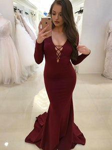Long Sleeves Maroon Jersey Mermaid Prom Dresses