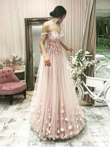 Off Shoulder Long A-line Lace Tulle Prom Dresses