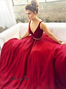 Deep V-Neck Long A-Line Red Prom Evening Dresses Prom Dresses