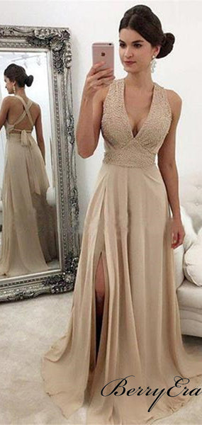 Beaded Open Back A-Line High Slit Long Prom Dresses, Cheap Prom Dress