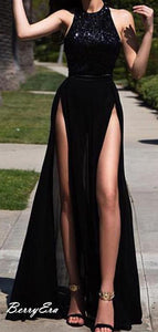 Black Sexy Long Prom Dresses, Sequins Prom Dresses, Modest Prom Dresses