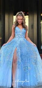 V-neck Light Blue Lace Tulle Prom Dresses, Long Prom Dresses