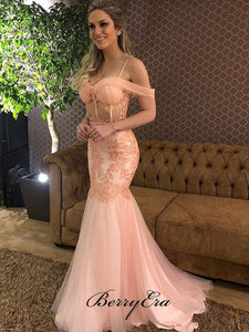 Off The Shoulder Sexy Prom Dresses, Newest Lace Mermaid Prom Dresses