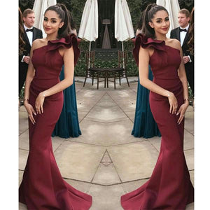 Elegant Burgundy Mermaid One Shoulder Flounced Sexy Prom Dresses