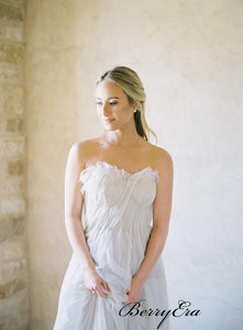 Cheap Simple Tulle Sweetheart Wedding Dresses, Strapless Beach Wedding Dresses