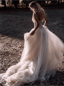 Sweetheart Long A-line Beaded Tulle Wedding Dresses, Country Wedding Gown, Long Bridal Gown