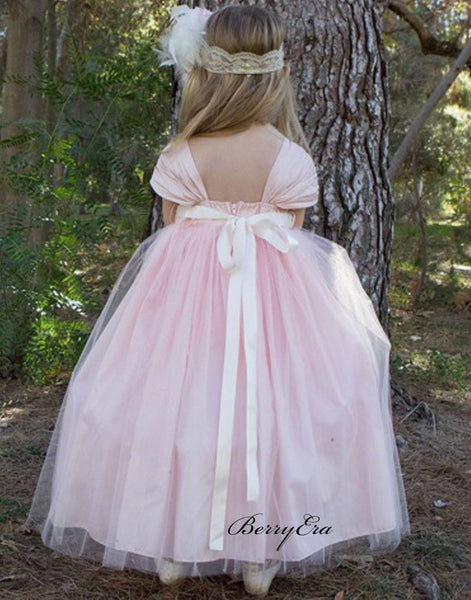 Little Girl A-line Wedding Dresses, Beaded Flower Girl Dresses