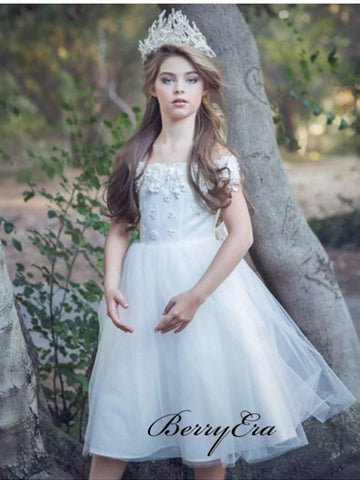 Off Shoulder Appliques Flower Girl Dresses, A-line Tulle Flower Girl Dresses