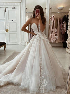 Spaghetti Long A-line Lace Tulle Wedding Gown, Modern Wedding Dresses, A-line Wedding Dresses