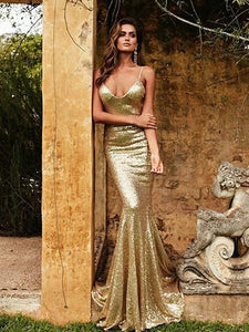V-neck Gold Sequin Mermaid Lace Up Prom Dresses