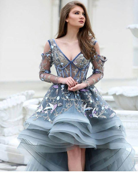 Unique Lace Hi-low Prom Dresses, Gorgeous Prom Dresses, Grey Prom Dresses