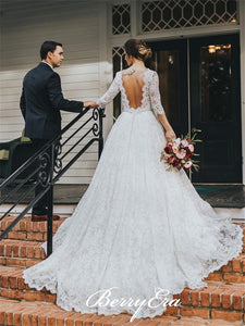 Long Sleeves Backless A-line Lace Wedding Dresses
