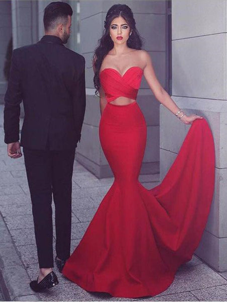 Sleeveless Red Color Mermaid Long Prom Dress,Sweetheart Prom Dress 2019