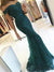 Off Shoulder Long Mermaid Emerald Green Lace Prom Dresses