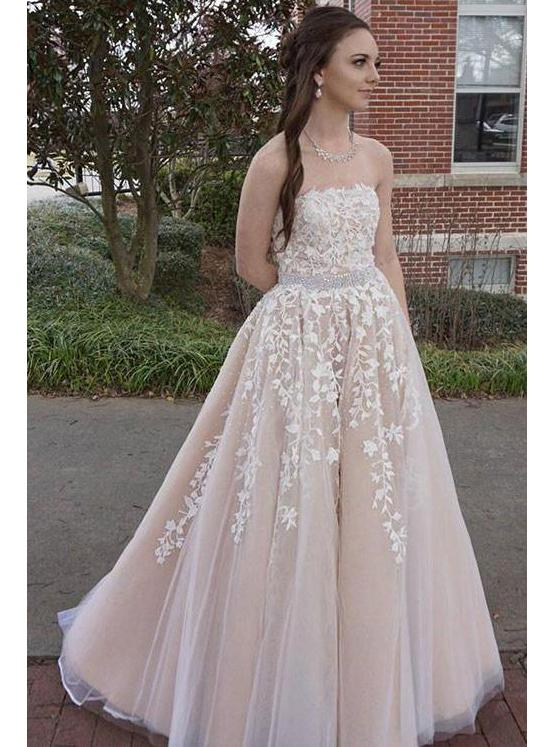Strapless Long A-line Tulle Lace Beaded Prom Dresses
